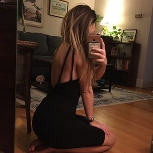LULU's black strappy back bodycon dress